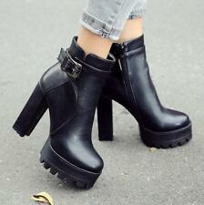 Fashion Womens punk Platform High Chuncky Heels Riding Ankle Boots zip Shoes Sz