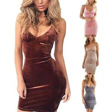 Women Deep-V Neck Bandage Bodycon Velvet Cocktail Party Clubwear Mini Dress