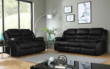 SORRENTO Black Leather Recliner Reclining Sofa Sofas Couch Suite Suites Range