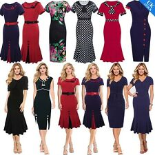 Vintage Rockabilly Womens Ladies Bodycon Fishtail Wiggle Stretch Sheath Dress UK