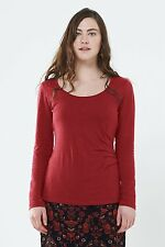 *SALE*   NOMADS Organic Cotton Spice Red Plain Longsleeve Fitted Top PT46