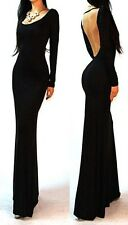 Black Minimalist Backless Open Back Slip Jersey Long Maxi Cocktail Dress S M L