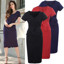 UK Womens Short Sleeve Belt Peplum Dress Stretch Sheath Midi Office Pencil Dress
