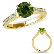 1.25 Ct Green Diamond V Prong Solitaire Ring Eternity Band Set 14K Yellow Gold