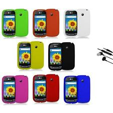 Silicone Rubber Color Gel Skin Case Cover+Earphone Mic for LG Net10 Optimus Net
