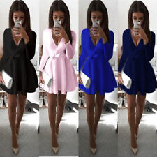 Sexy Women Long Sleeve Party Evening Cocktail Club Party Skater Short Mini Dress