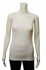 Womens G Casual Vest Tank Top Ribbed White Size 10 to 18 Ladies A8