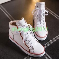 Womens Leather Lace Up Wedge Heels Fashion Sneakers High Top Shoes Trainers Sz