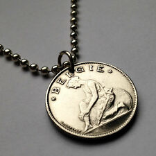 Belgium 1 franc pendant Belgian LADY kneeling woman necklace Brussels n000292