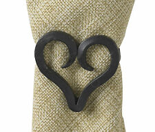 Forged Heart Napkin Rings by Park Designs, Choice of Sets, Natural Black Iron