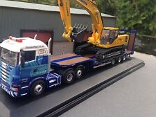 OXFORD DIECAST 76SHL01ST 1/76 SCANIA 420 6x2 LOWLOADER WITH DIGGER LOAD