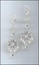 Shimmering Silver Chandelier Earrings with Swarovski CLEAR Crystals