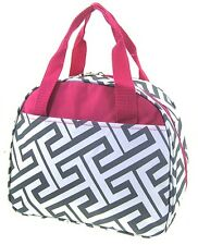 Pink & Gray Greek Key Insulated Lunch Tote Bag-- Lunch Bag