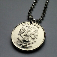 Russia 2 Rubles coin pendant Russian double headed EAGLE necklace Moscow n001094