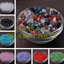 25~100pcs 6mm Cube Square Faceted Crystal Glass Loose Spacer Beads DIY Findings