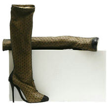 MAISON MARTIN MARGIELA BLACK/NUDE LEATHER/TULLE BOOT W/ARCHED SOLE