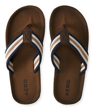 aeropostale mens striped canvas flip-flop blue