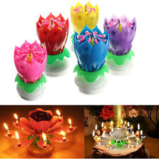 Romantic Musical Lotus Flower Rotating Happy Birthday Party Candle Lights new
