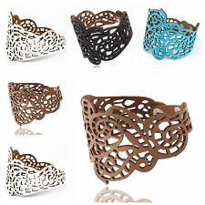 New Women's Faux Leather Punk Gothic Hollow Figure Cuff Bracelet Bangle Jewelry