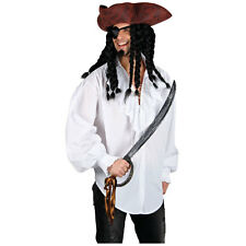 Mens Pirate Shirt White Costume for Sea Buccaneer Fancy Dress Mans Male
