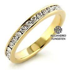 Women's Ring Round Cut 14k Gold Plated AAA CZ Eternity Wedding Band Size 5 to 10