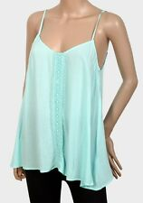 Womens Camisole Top Size 8 12 New Ladies Mint Green relaxed fit Crochet detail