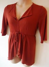 Womens Tunic Blouse Top Size 16 18 Ladies Brick Red Jersey Long Sleeve lapel 2nd