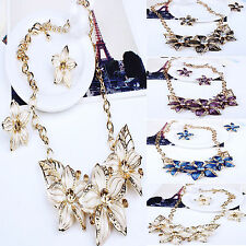 SM New Charm Crystal Jewelry Chunky Statement Bib Pendant Choker Chain Necklace