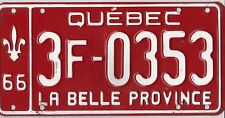 ✿◕‿◕✿⊰ AUTHENTIC CANADA 1966 QUEBEC LICENSE PLATE