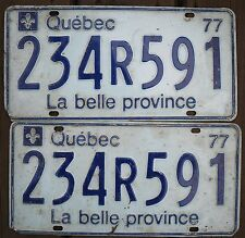 ★•☆•★▄▀▄▀▄█▓▒ AUTHENTIC CANADA 1977 QUEBEC PAIR OF LICENSE PLATE.