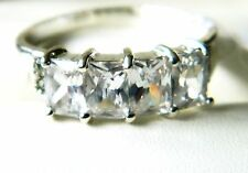 NEW Sterling Silver LadiesWomens Clear CZ Emerald Cut Band Ring Size M,N,O,Q,R,U