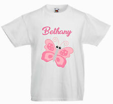 PERSONALISED CHILDRENS  KIDS T SHIRT*ANY NAME * PINK BUTTERFLY