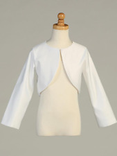 New Girls White Long Sleeve Satin Bolero First Communion Easter Graduation 103