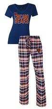 Chicago Bears Women's Pajamas Tiebreaker NFL Sleep 2-piece Set Shirt Plaid Pants