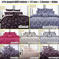 6 Pce Jacquard QUEEN Comforter + 2 P/cases + 2 Eurocases + Cushion