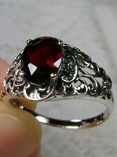 Natural Garnet Sterling Silver Art Nouveau Filigree Ring Size: {Made To Order}
