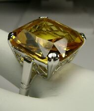 20ct *Yellow Citrine* Sterling Silver 925 English Filigree Ring (MTO) Size Any
