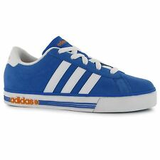 Adidas Daily Team Suede Trainers Junior Boys Blue/Wht/Orange Sports Sneakers