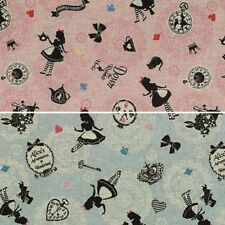 Alice in Wonderland Frame Silhouettes Toss Japanese Cotton Linen Fabric (Lecien)