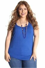 DEALZONE Alluring Racer Back Top 1X Women Plus Size Blue Evening, Occasion