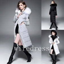 Women's Warm Winter Down Jackets Lady Fur Collar Hooded Long Parka Coats Outwear