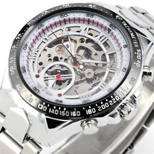 Mens Skeleton Automatic Mechanical Sport Silver Gold Stainless Steel Wrist Watch