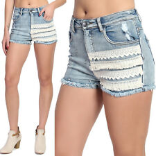 TheMogan Crochet Lace Accent High Waisted Frayed Destroyed Cut Off Denim Shorts