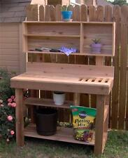 NEW 6 FT LARGE CEDAR POTTING BENCH PLANT GARDENING STATION BENCHES WITH SHELVES