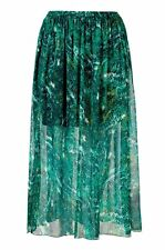 Ladies womans maxi floaty skirt beach cover up sarong green plus size 18-34 UK