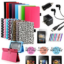 New PU Leather Folio Stand Case Cover For Amazon Kindle Fire HDX 7 & 8.9 & HD 7""