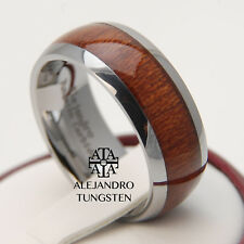 Tungsten Ring Wedding Band 8MM Comfort Fit Wood Inlay Design Shiny Size 6 to 14