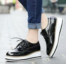 Womens Platform Wedge Heel oxford wing tip brogue shoes lace up patent leather