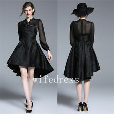 Sexy Black Women's High Low Dresses Long Sleeve Prom Formal Ball Gowns Knee Long