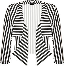 Womens Plus Cropped Waterfall Blazer Ladies Striped Print Collared Open 16-26